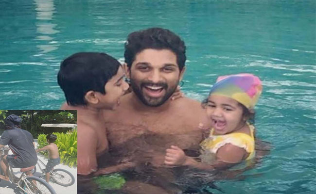Allu Arjun Enjoys A Vacation With His Wife And Children